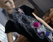 RESERVED  Beautiful Feminine Soft Scarf Victorian Antique Black Silk Lace  Wild Animals Spider Webs SNOW LEOPARD Boho Gothic