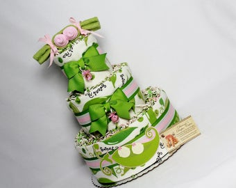 Baby Diaper Cake Sweet Peas in a Pod BOY GIRL NEUTRAL Single Twins Triplets Light or Dark Skin Shower Gift Centerpiece