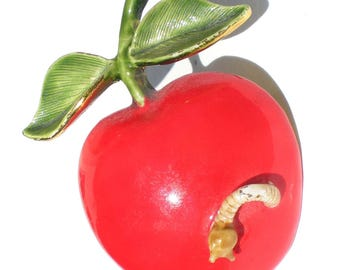 Glossy Red Apple Brooch with Worm and Green Leaves Signed Original by Robert - Fruit Figural Vintage Jewelry