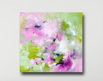 Large Pink Green Wall Art Canvas, Abstract Art Print from Painting, Expressive Art, Modern Canvas, Colorful Painting Print, Canvas Giclee