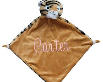 baby blanket, animal blanket, personalized blanketanimal lovey, one day ship, animal blankie, lovie, baby lovey, tiger lovey
