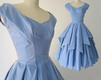 CELE PETERSON 1950s Cinderella Princess Dress / Ultimate 1950s Disney Blue Party Dress