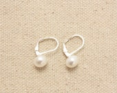 Sterling and Freshwater Pearl Earrings, Cultured Pearls, Button Pearls, Sterling Silver Lever Ear Wires, Ready to Ship