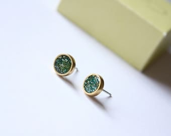 Pacific Waters Stud Earrings, Resin Handmade Stud Earrings, Antique Gold Studs, Nautical Studs, Ready to Ship