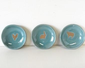 Bunny farm animal spice ring dish bowl set cow chicken