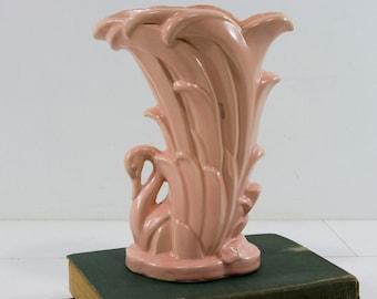 Vintage McCoy Pink Swan Vase