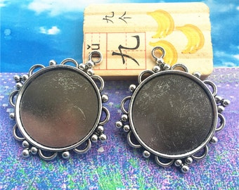4pcs 30mm(cabochon size) antiqued silver flower round bezel trays blanks