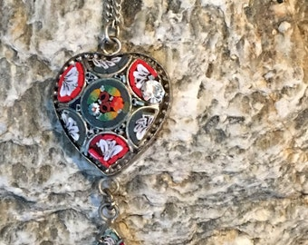 Mosaic Heart Pendant with Rhinestone on a silver chain .