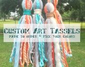 Custom Order for Leslie - Colorful Art Yarn Tassels in Shades of Aqua and Orange, with grey and ivory