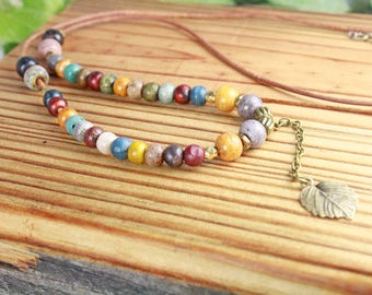 Necklace Beaded/Leaf Charm/Earthly Multi-Colors