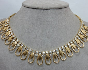 Sarah Coventry Gold Chain & Loop Rhinestone Choker Necklace    OM25