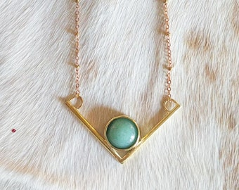 Aventurine and Brass Necklace - geometric necklace - bohemian necklace - unique christmas gift - holiday gift for her - boho necklace