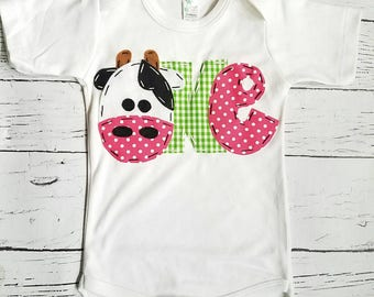 1st birthday cow bodysuit, barnyard birthday shirt // one, cow, 2nd,  t shirt, barnyard, farm theme, girl pink green