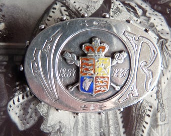 Antique Souvenir Hallmarked Sterling Silver Enamel Brooch Queen Victoria ~ 1887 Golden Jubilee