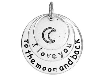 "5pcs. Antique Silver Circle Round Moon ""I love you to the moon and back"" Charms Pendants - 25mm X 22mm - 1 inch - 3 Layers!"