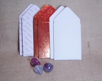 Copper Foil Mini Envelopes, Set of Six Mini Envelopes, Pink and Copper Envelopes