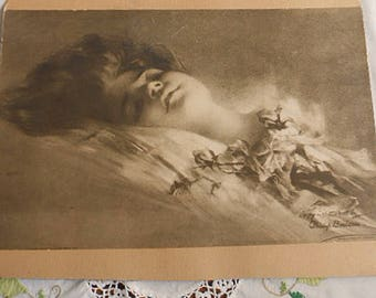 Rare SWEETHEART WOMAN in REPOSE with Roses Litho Print, Sepia Tone 1905 Philip Boileau Painter of Women, Cardboard Mounted 11 x 14 to Frame