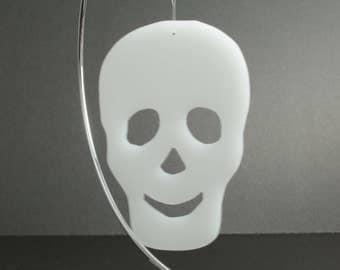 Skull Ornament, Halloween Skeleton Decoration, Fall Decor, Day of the Dead, Skull Stencil, Hand Cut Translucent White Acrylic