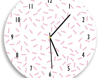 Sprinkles Wall Clock - confetti decor - pink and white nursery