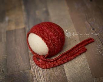 Sammy Bonnet - newborn - READY TO SHIP  - hat - photo prop - red