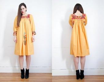 Vintage 70's Floral Cotton Mexican Dress Embroidered Oaxaca Dress Sz S M