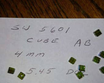 4mm Olivine Swarovski Crystal Cube