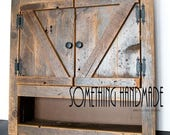 Barn wood  Medicine  cabinet with open shelf made from 1800s weathered rustic  barn wood - barn style  doors
