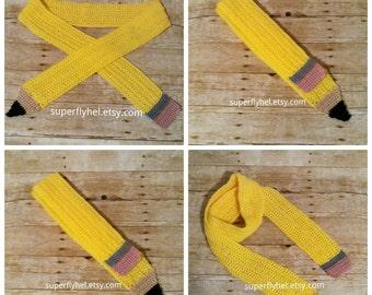 Pencil Scarf, Pencil, Scarf, Crochet Scarf, Teacher Scarf, Unisex Scarf, School Scarf, Yellow Scarf, Womens Scarf, Mens Scarf, Fashion Scarf