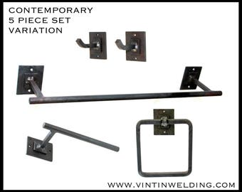 DISCOUNT Hand Forged Iron 5 Piece SET of Contemporary Double Square Style Based Bathroom Accessories by VinTin