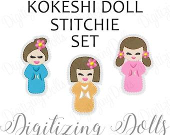 Kokeshi Doll Set of 3 Stitchie Feltie Set Applique Machine Embroidery Designs 2x2 Japanese Dolls Hair Clips INSTANT DOWNLOAD