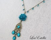 RESERVED for Daniele - Turquoise Floral Necklace Bollywood necklace Teal Swarovski crystal necklace Indian Jewelry - Indian Rose