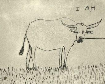 I AM - original drypoint print