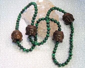 Malachite & Buddha 108 Bead Stretch Mala!!!