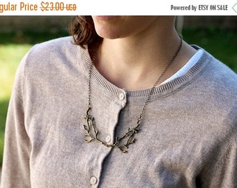 20% OFF CHRISTMAS SALE Branch / twig / antler woodland bib necklace, bronze, twig jewelry, whimsical statement necklace, A Nymph's Necklace