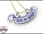 I'm a Wolf Necklace, Wolf, Furry, Canine, Wolf Necklace, Grey Wolf