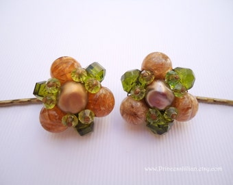 Vintage earrings hair clips - Fern green crystal topaz marble beaded cluster fancy unique Fall Autumn embellish decorative hair accessories