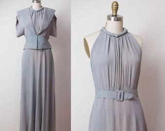1930s Evening Gown / 30s Crepe Dress & Jacket