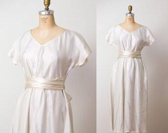 Vintage Geoffrey Beene Dress / 80s Metalic Caftan Sundress