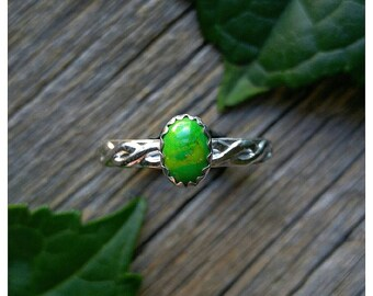 Sterling Silver Green Mojave Turquoise Ring Size 7 Stone Gemstone 925 Jewelry December Birthstone