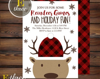 Reindeer Games Party Invitation - Christmas Party Invitations - Holiday Party Invites - Plaid Reindeer and Snowflakes