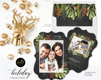 Ornate Christmas Photo Card, Holiday Photo Card, Photo Christmas Card, Rustic Holiday Card, Christmas Card 5x7 LUXE Holiday Card - PRINTED