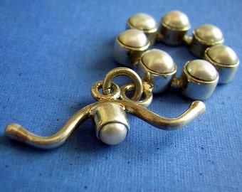 Sterling Silver Toggle Jewelry Clasp with Real Freshwater Pearls Bezel Settings New Old Stock Destash