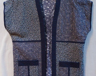 Indigo Dragonflies -- Quilted SS Jacket (L)