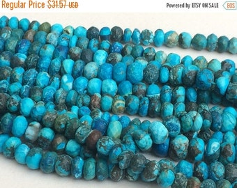 ON SALE 55% Turquoise Faceted Rondelle Beads, Chinese Turquoise Beads, Turquoise Necklace 5-9mm, 4 Inch, 21 Pcs - GSA11