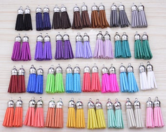 50 Jewelry Tassels, Assorted Color tassel with silver cap, Mini Suede leather tassels, Handmade Bracelet Tassel, 1.5'', You Choose the Color