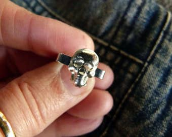 Sterling Silver Square Skull Ring size 5