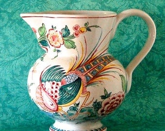 Vintage Pitcher Portugese Hand Painted with Elegant Bird
