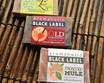 Any 3 craft cocktail soaps - you choose scents - Black Label collection - organic cold-process vegan creative cocktail-inspired soap