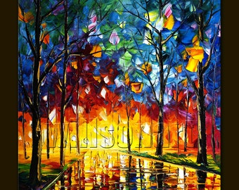 Original Modern Landscape Painting Oil on Canvas Textured Palette Knife Contemporary Art Rainy Night 24X24 by Willson Lau