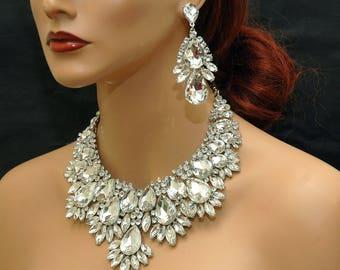Crystal Bridal Bib Necklace, Diamante Choker Necklace, Wedding Necklace, Crystal Jewelry Set, Silver Bib Necklace Set, Statement Jewelry